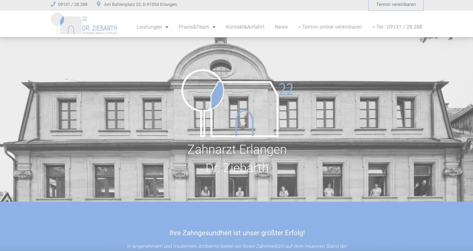 Screenshot der neuen Website für Dr. Ziebarth